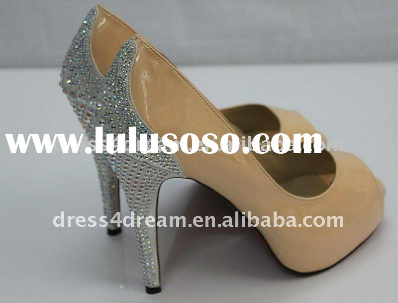 7-9cm true leather 2011 high heel shoe woman with stone