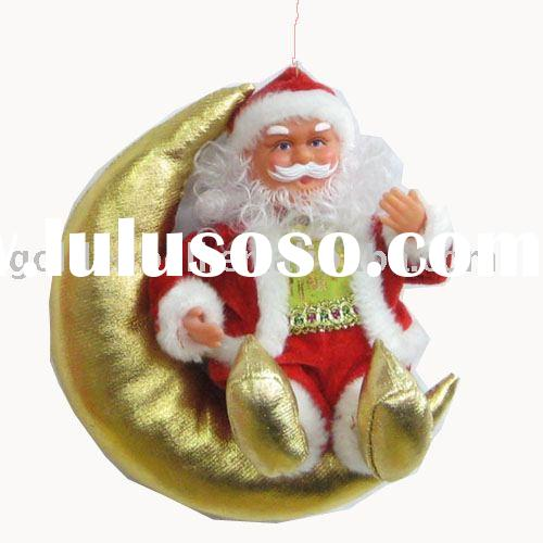 8'' santa claus,moving hands & kicking feet,with nice xmas music,battery operate