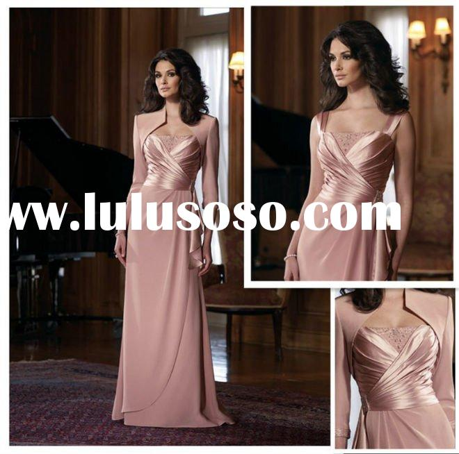 A-line Strapless Chiffon Floor-length Mother of the Bride Gown