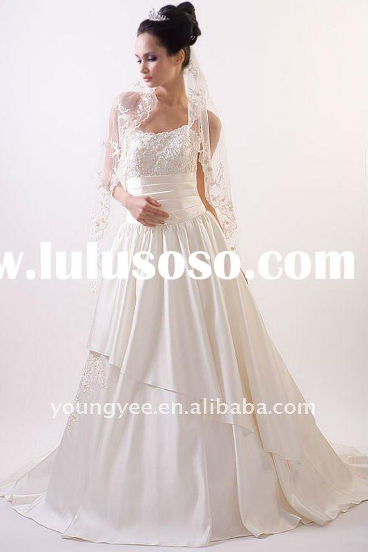 A-line strapless scoop neckline embroidered lace best price high quality wedding dress 2011(WD10018)