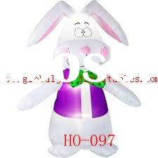 Airblown Inflatables Easter Lovely Bunny with green bow tie HO-097