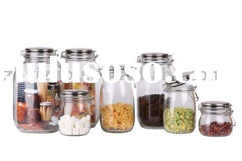 Airtight Clear Glass Storage Jar with Stainless Steel Lid