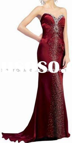 BE401 free shipping beaded pleated sweetheart wine red satin evening dress