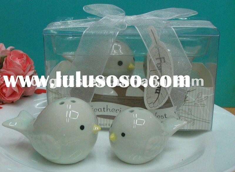 Baby shower favors for guests of Feathering the Nest Ceramic Birds Salt Pepper Shakers