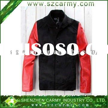 Black & Red Spring & Autumn College Stylish Fashion Men's Varsity Jacket with Leathe