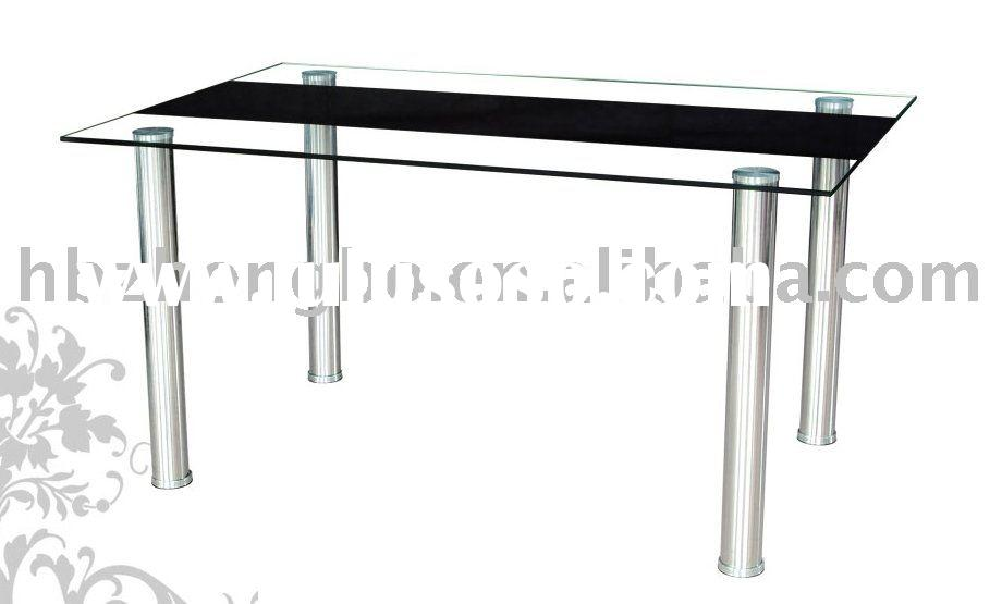 Black strip tempered glass dining table