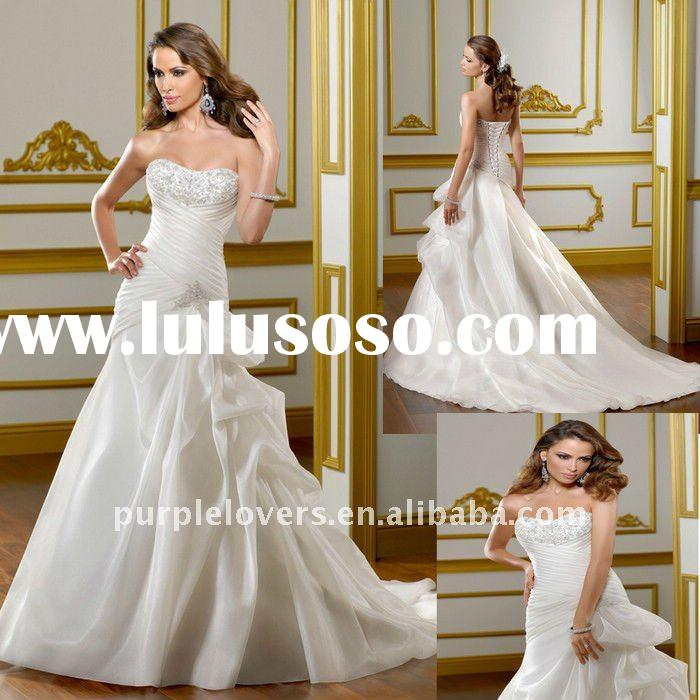 Cheapest Low Back Strapless lace A-line wedding gown