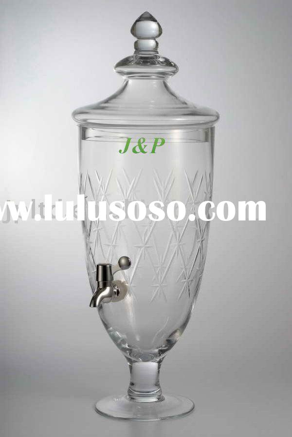 Clear engraved glass beverage dispenser with spigot