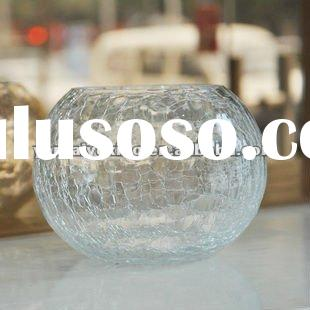 Crackle clear glass votive candle holder in round shape