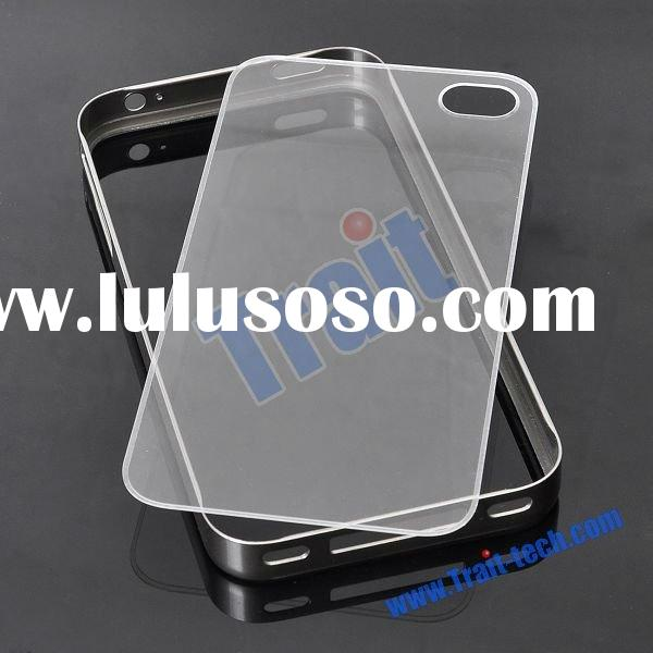 Detachable Bumper and Transparent Plastic Back Plate Hard Case Cover for iPhone 4