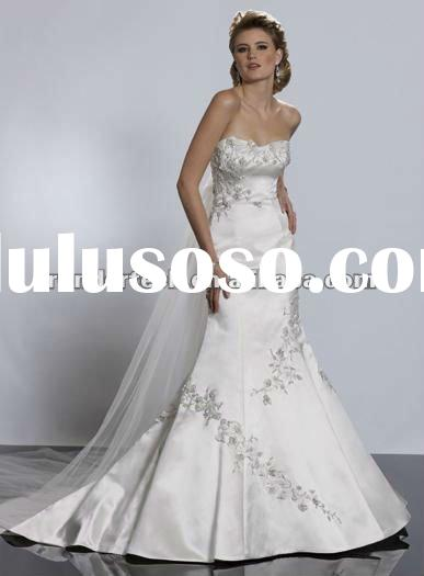 Detachable Train Satin 2012 custom made wedding dresses