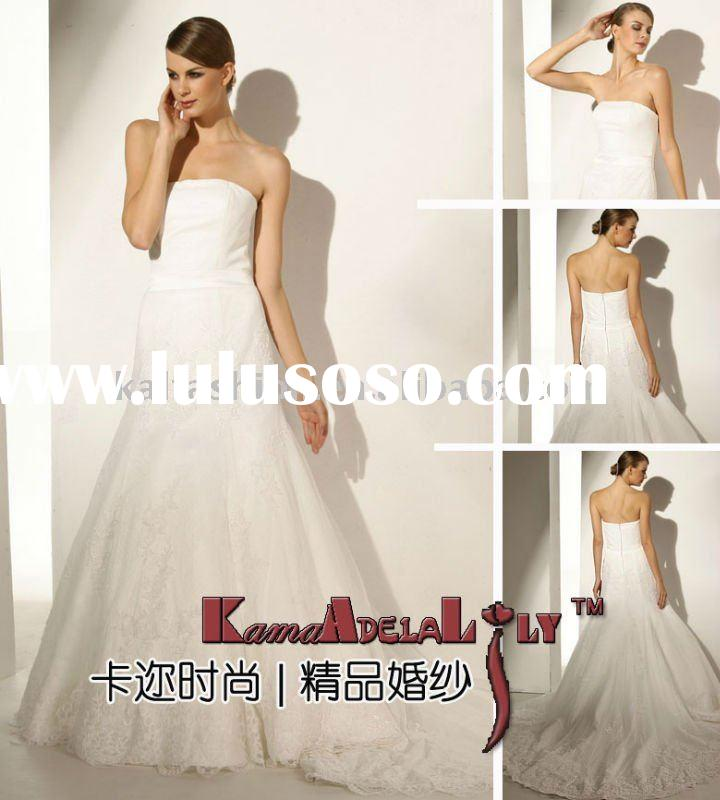 EB979 First class fabric strapless backless lace wedding dress royal bridal gown sleeveless bridal g