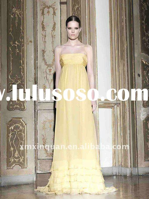 EL117 Fashion pleated spaghetti strap yellow chiffon women's long evening dresses 2011