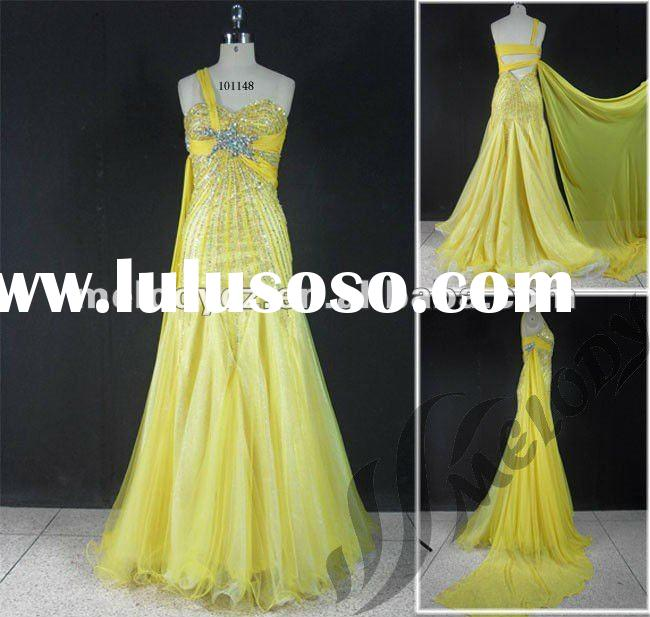 Elegant one-shoulder chiffon evening dress 2011 with tail
