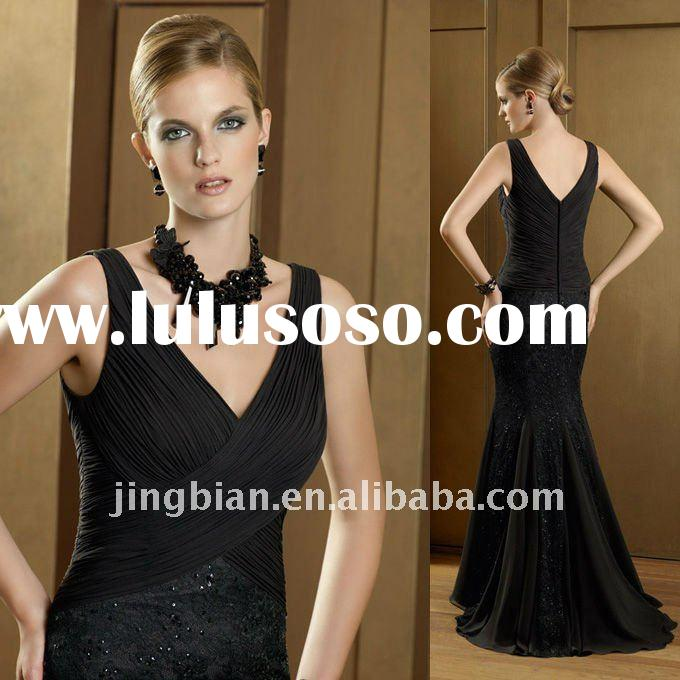 Fabulous V-neck Party Gown with Black Lace Overlay Designer Mother of the Bride Dress
