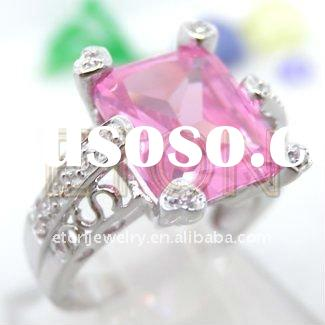 Factory artisan crafted wholesale fashion silver hand setting Pink CZ rhodium plating 925 silver jew