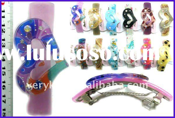 Fashion Acrylic Ladies Hair Bow Clamps / Hair accessories jewelry (FCH-11256)