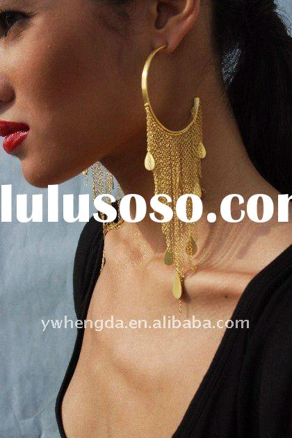 Fashion Jewelry-2011 Best selling large hoop long chain earring