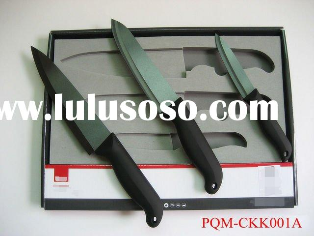 High quality sooty ceramic kitchen knife set 001A