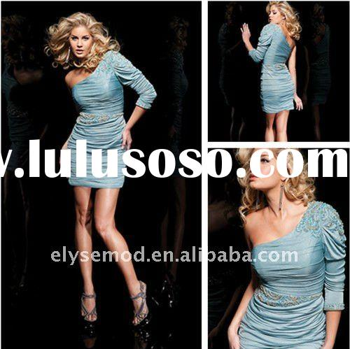 Hot Sale Short Beaded One Sleeve Short Cheap Homecoming Dresses 2012