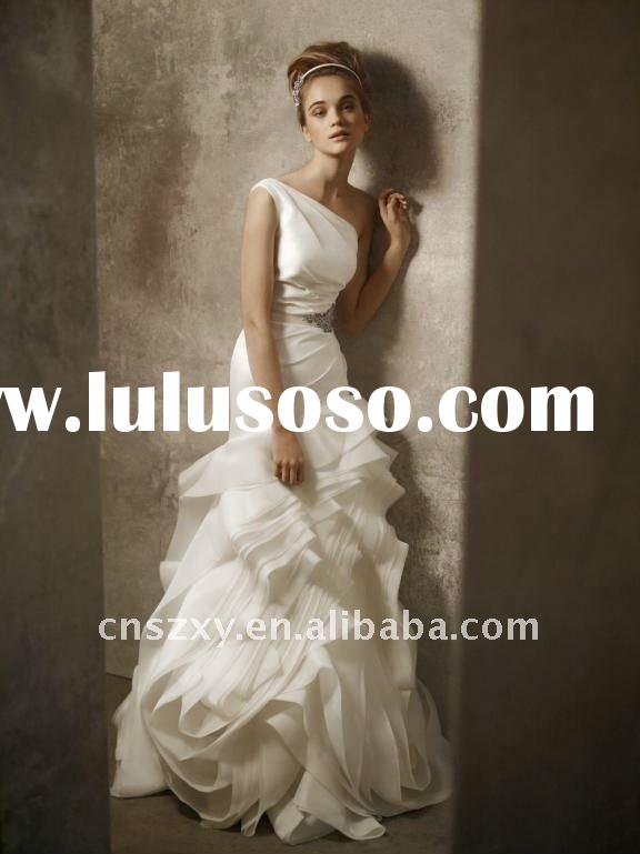 Hot Sell 2012 One Shoulder Organza Ruffle Layers Designer Popular Bride Dresses
