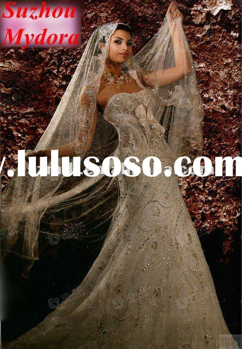 Hot Sell Heavy Beaded Satin and Lace Arabic Wedding Dress for Brides 2012