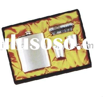 Kit Flagon(Stainless steel hip flask set) with leather covered