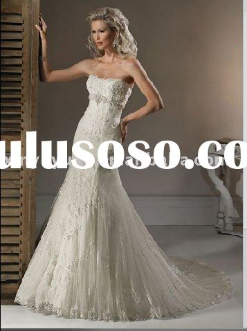 Lace a-line wedding dress MA-778 beading high quality best price hot sell antiquate