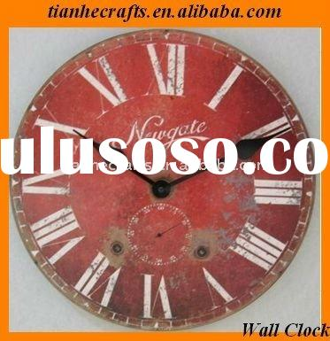 Large World Antique red Shabby wall clock MDF
