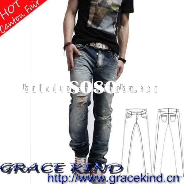 Latest Design Wholesale Denim Fashion Men Jeans In 2012(GKMJ02151)