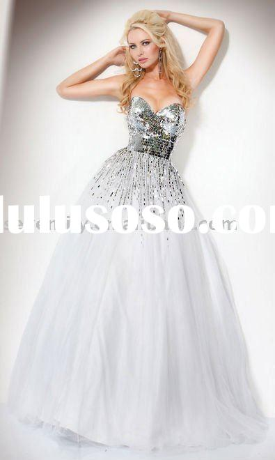 Latest amazing long sequined prom dresses 2011