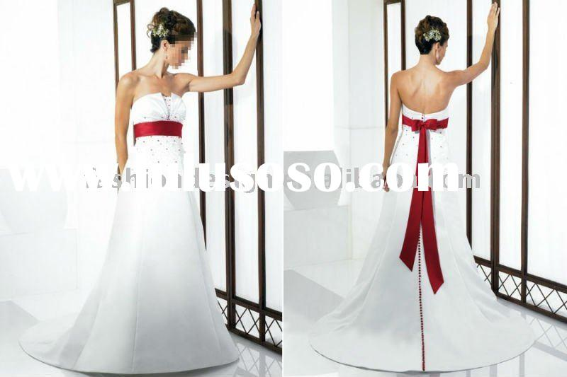 MW-48 2011 Custom made beaded strapless with red ribbon A-line wedding dress