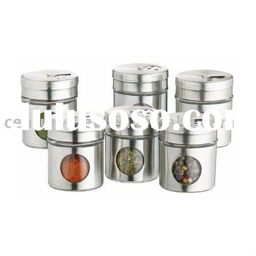 Metal Coat Glass Spice Jar
