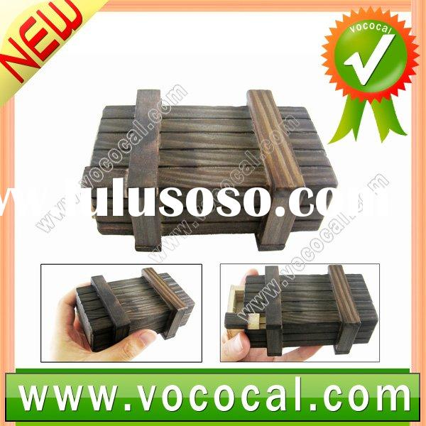 Mini Chinese Magic Trick Wooden Puzzle Box with a Secret Drawer