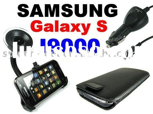 Mount holder+car charger+leather case for Samsung I9000 Galaxy S