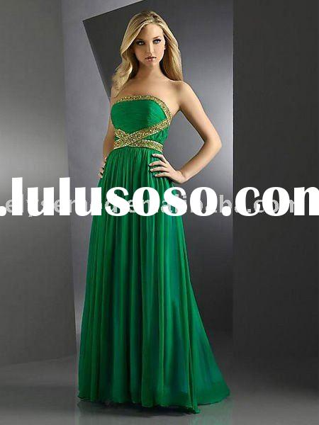 New Hot-Sale Elegant Green Strapless Tube Top Evening Dress