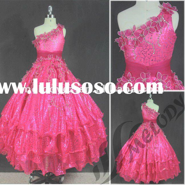 One-shoulder machine embroidery little girls/childred party dresses
