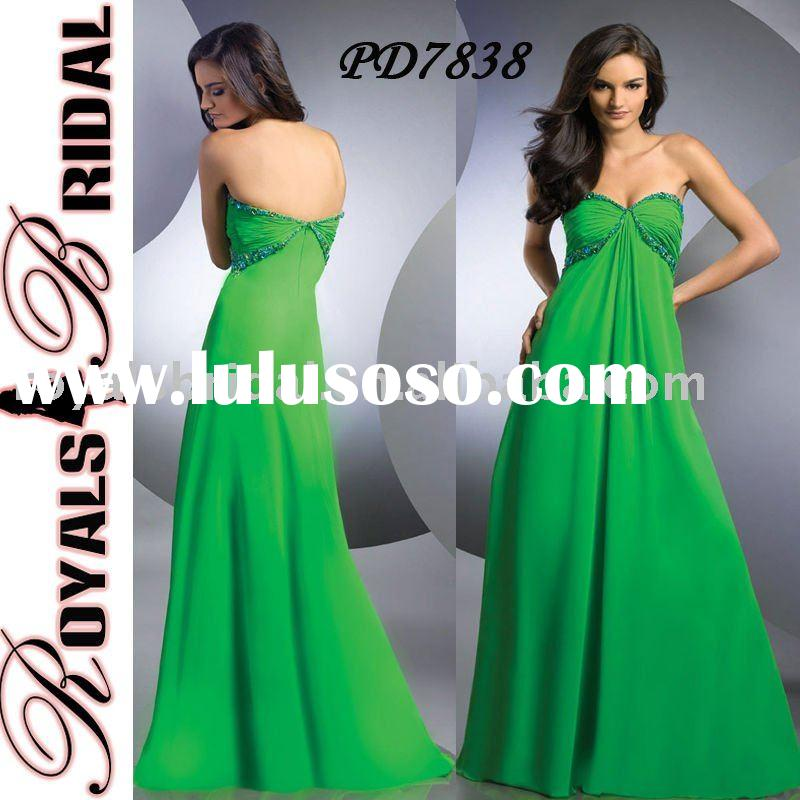 PD7838 Latest Design Strapless Evening Gown Green