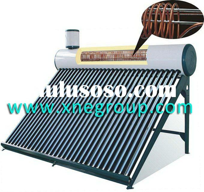 Pressurized thermosyphon copper coil vacuum tube solar heater