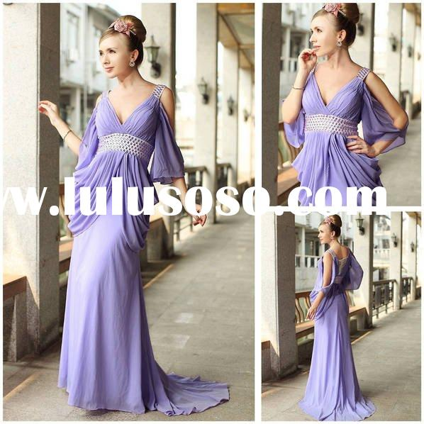 Promotion items v-line fashion dress double shoulder sweep train free shipping D30248