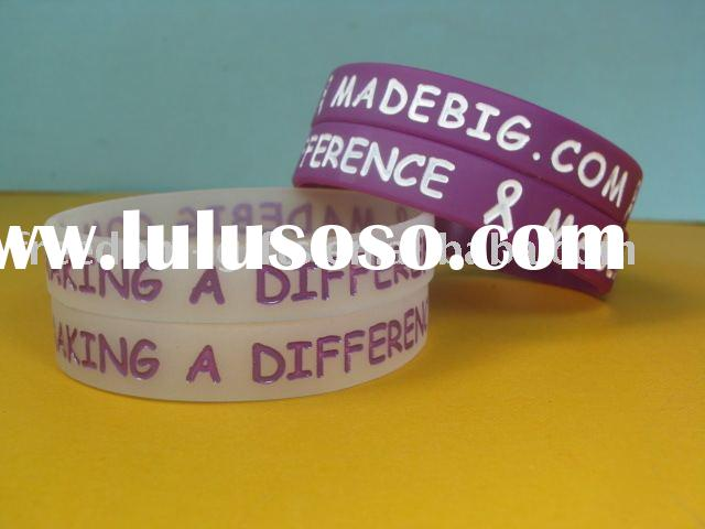 Promotional Logo Printed Top Quality Debossed Silicone Bracelets