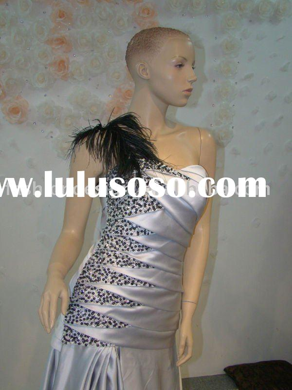 REAL205 Gorgeous one shoulder feather with silver evening dresses