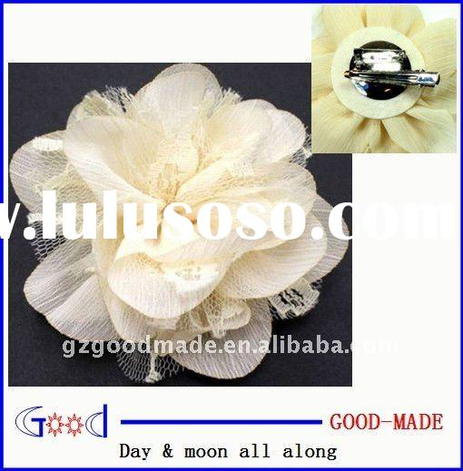 Rose Lace Hand Made Corsage Fabric Flower Hat Hair Clip & Pin Brooch