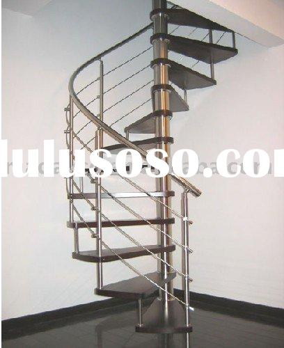 Stainless Steel Wood Spiral Stairs