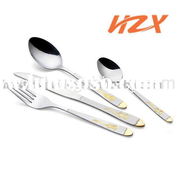 Stainless steel spoon set and fork with flower pattern
