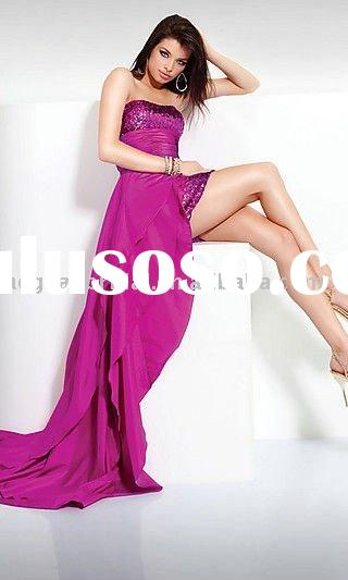 Style RZ-ed078 2012 sale strapless sequins purple taffeta front short and long back prom dress