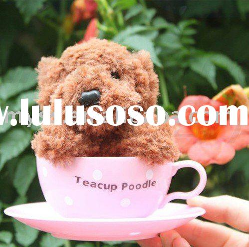 Tea Cup Brown Dog Poodle Plush Dull Gift Toy New