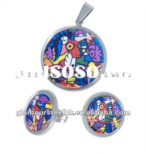 Unique Colorful artisitic collection pendant & earring stainless steel jewelry sets