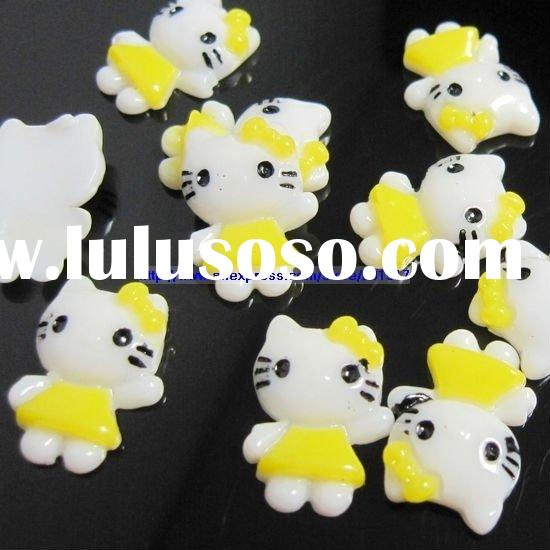 Wholesale 11x15mm yellow color hands hello kitty resin Flatback applique for nail art