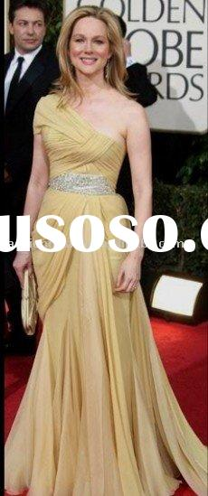 XDZR270 One shoulder chiffon with sparkle crystals light yellow celebrities dresses